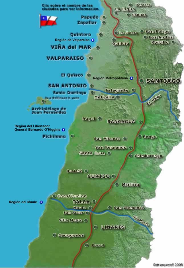 mapa zona centro Mapa zona central de Chile, región metropolitana. mapa zona centro